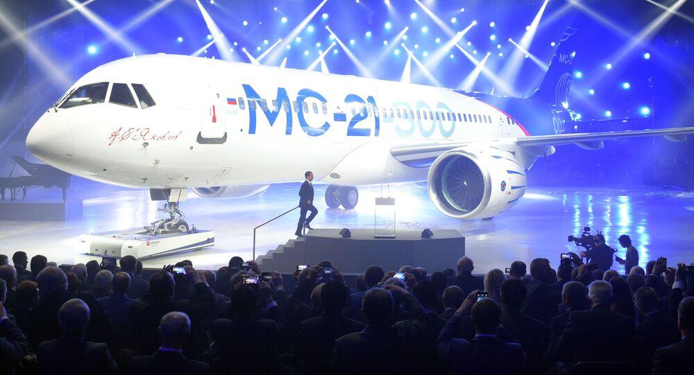 V Irkutsku prezentovali nejnovější dopravní letadlo MS-21