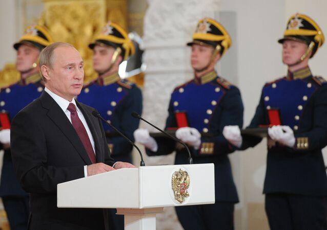 Vladimir Putin během předání státních vyznamenání