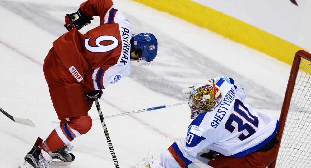 Zápas české a ruské hokejové reprezentace