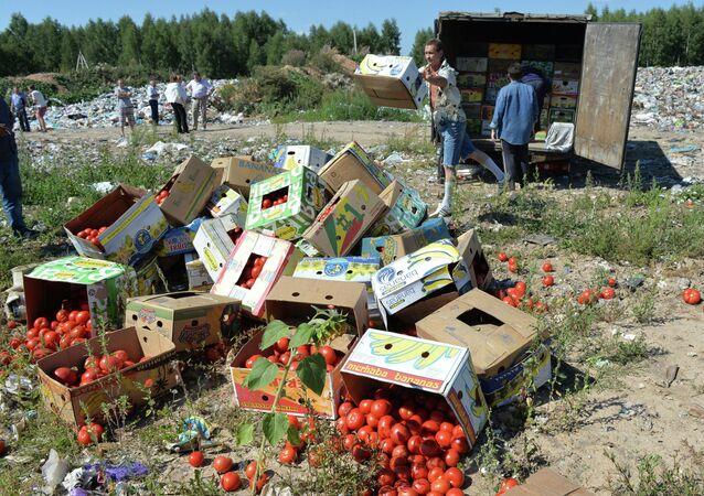 Ničení sankcionovaných potravin v Rusku