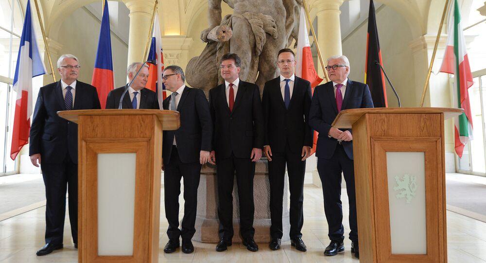 Jednání visegrádské čtyřky s šéfy francouzské a německé diplomacie v Černínském paláci v Praze