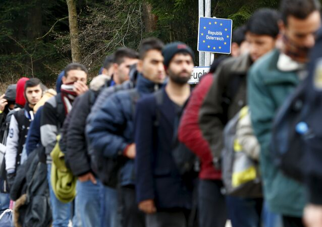 Migranti na rakousko-německé hranici