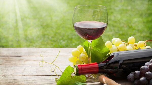 Бокал вина на столе в солнечный день - Sputnik Česká republika