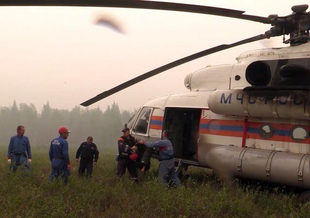 Pátrací operace na místě pádu letadla Il-76