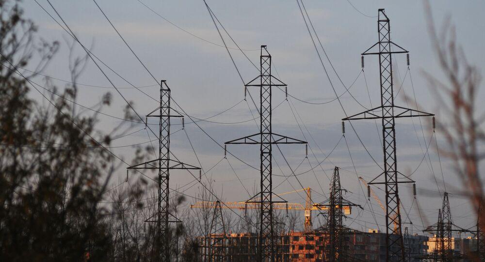 Dráty elektrického vedení v Lvovské oblasti