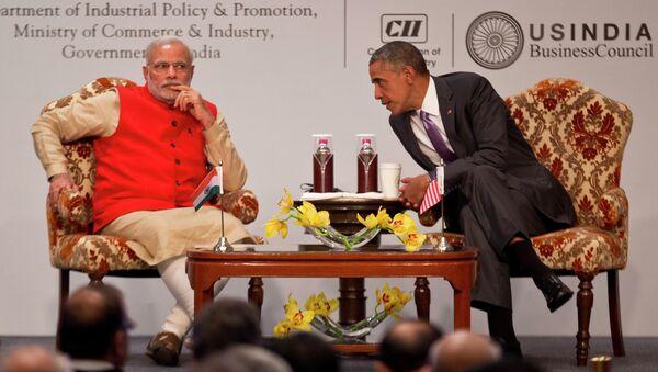 Americký prezident Barack Obama během setkání s indickým premiérem Narendrou Modim - Sputnik Česká republika
