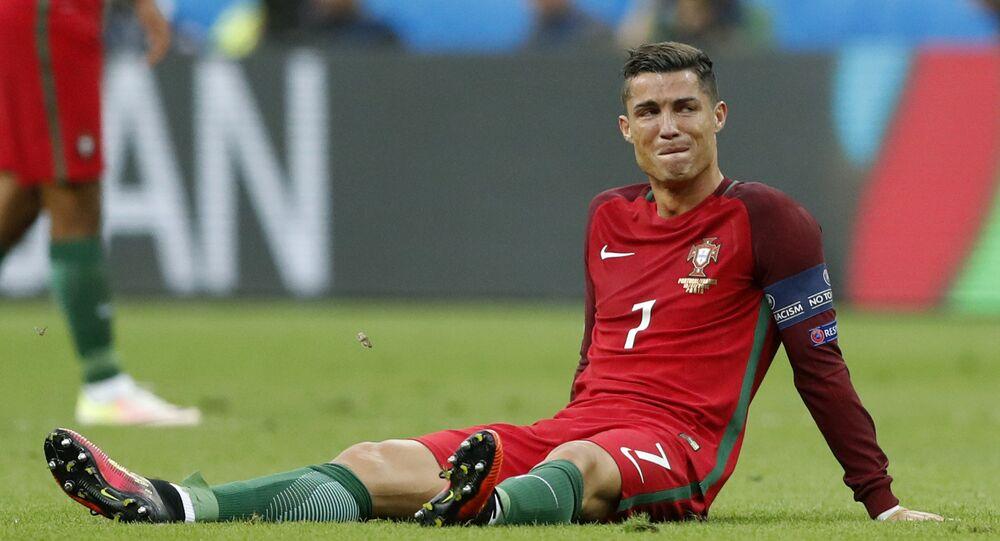 Cristiano Ronaldo při zápase Portugalsko-Francie