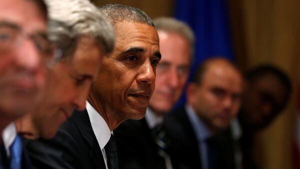 Barack Obama během summitu NATO ve Varšavě - Sputnik Česká republika