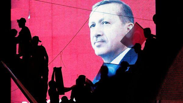 Přívrženci kolem Erdoganova portrétu - Sputnik Česká republika