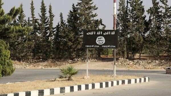 Vlajka IS v syrském městě Manbij - Sputnik Česká republika
