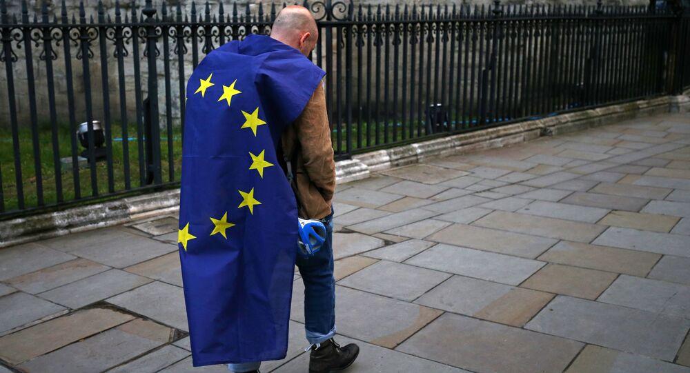 Muž s vlajkou EU