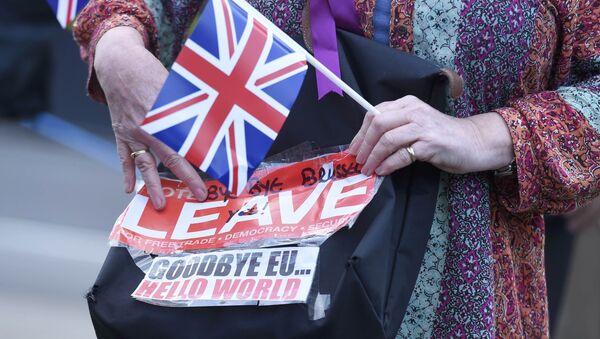 A vote leave supporter holds a poster in Westminster, London, Britain June 24, 2016. - Sputnik Česká republika