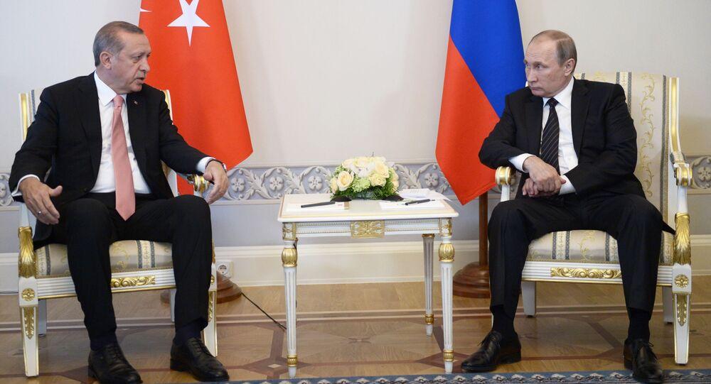 Schůzka Vladimira Putina a Recepa Erdogana