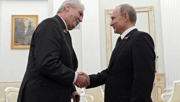 Český prezident Miloš Zeman a ruský prezident Vladimir Putin během setkání v Kremlu - Sputnik Česká republika
