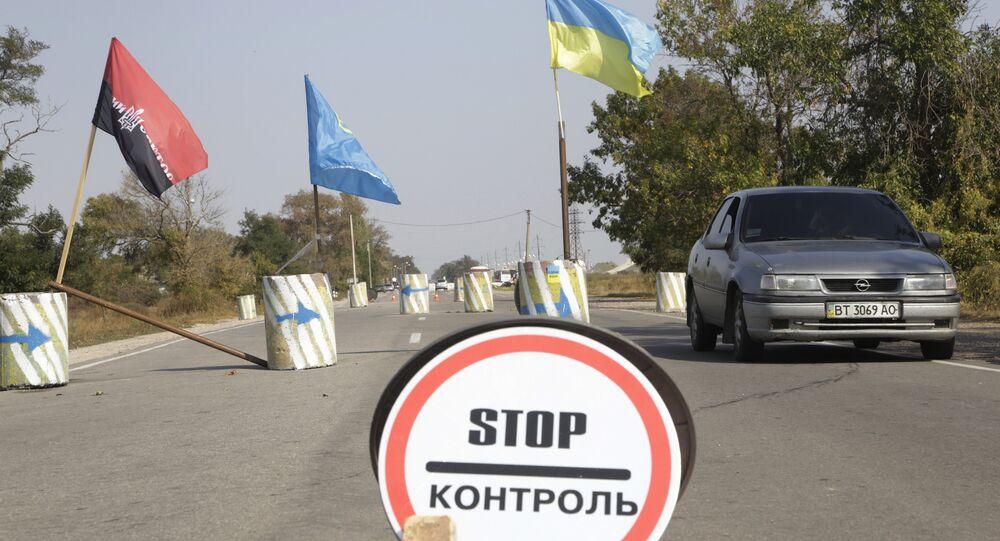 Hraniční přechod mezi Ukrajinou a Krymem