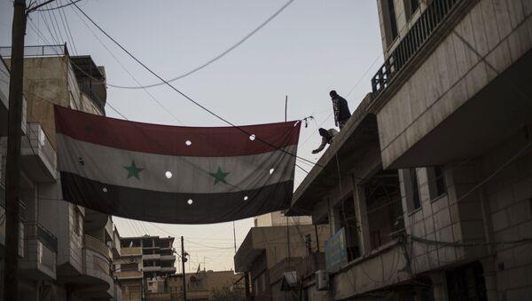 Syrská vlajka v Kámišlí - Sputnik Česká republika