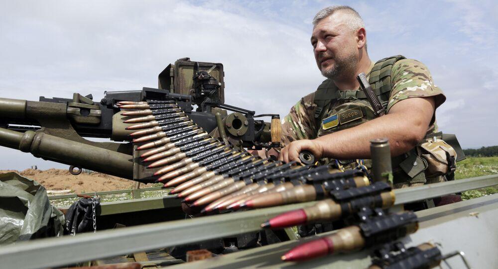 Ukrajinský voják s kulometem