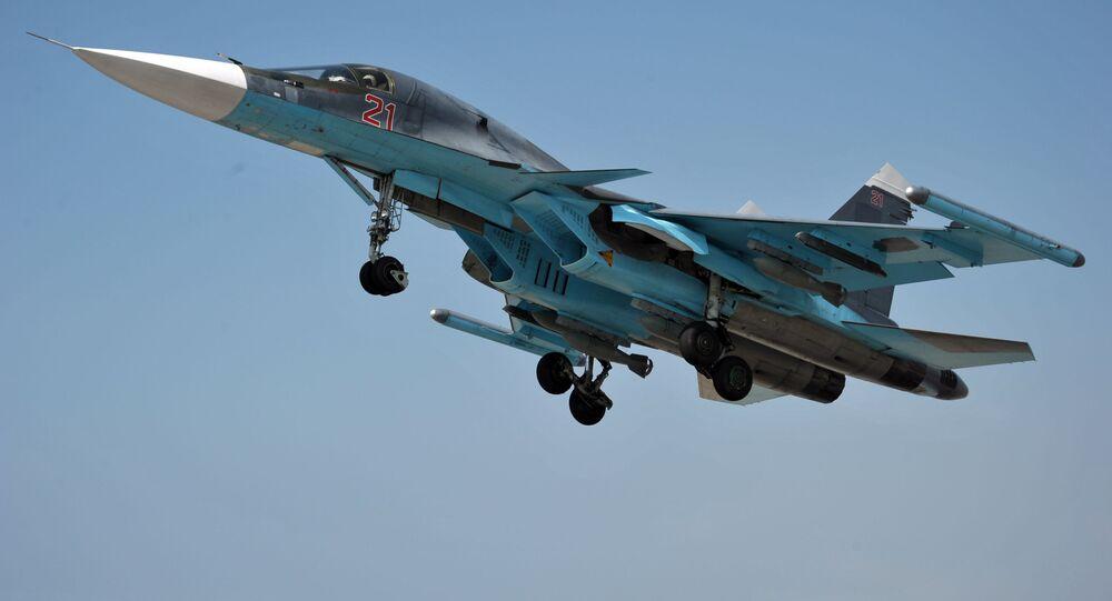 Stíhací letoun Su-34 na základně Hmímím
