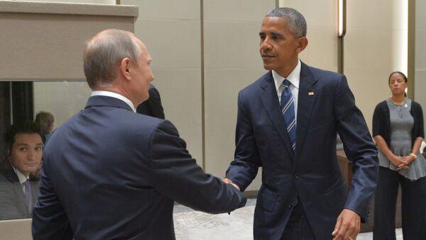 Schůzka ruského prezidenta Vladimira Putina a prezidenta USA Baracka Obamy na okraj summitu G20 v Číně - Sputnik Česká republika