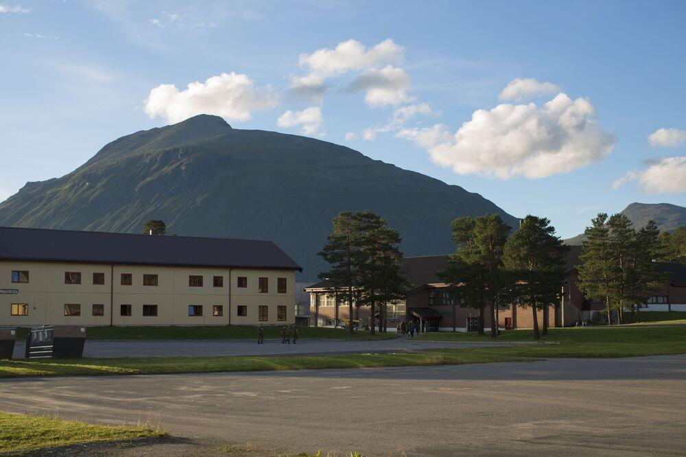 Kasárna na vojenském výcvikovém prostoru v Norsku