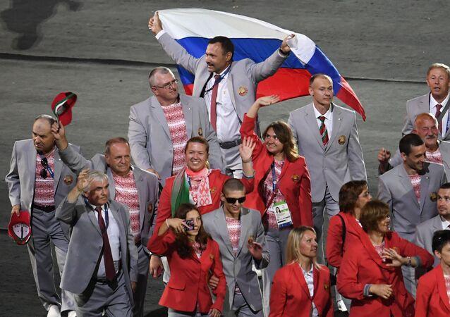 Andrej Fomočkin s ruskou vlajkou