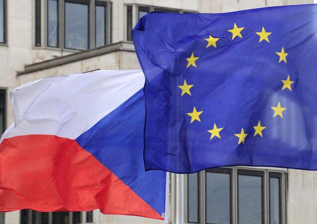 Vlajky České republiky a EU