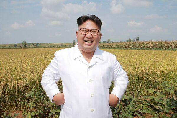 Severokorejský lídr v zemědělském komplexu Taedonggang - Sputnik Česká republika
