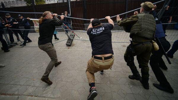 Protestní akce u ruského velvyslanectví na Ukrajině - Sputnik Česká republika