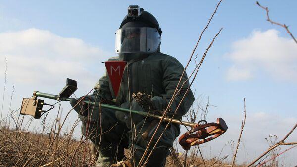 Ženista při odhalování min - Sputnik Česká republika
