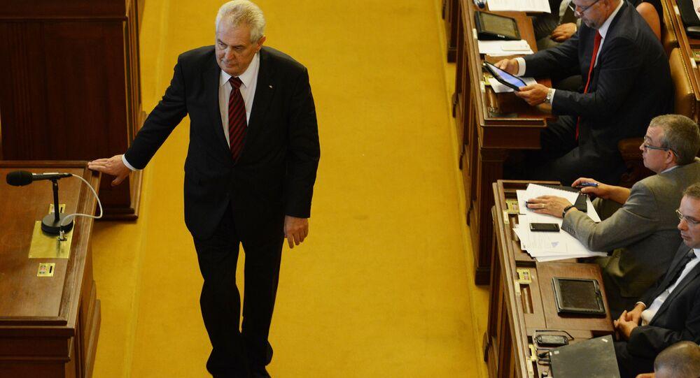 Český prezident Miloš Zeman v parlamentu