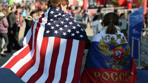 Fanoušci s vlajkami USA a Ruska - Sputnik Česká republika