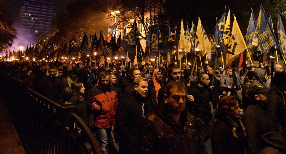 Pochod na počest výročí zřízení Ukrajinské povstalecké armády