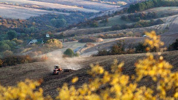 Traktor v poli poblíž obce Klynivka v Krymu - Sputnik Česká republika