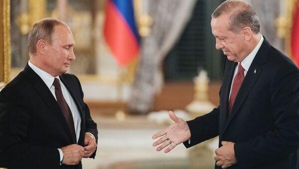 Prezident RF Vladimir Putin a prezident Turecka Recep Tayyip Erdoğan během setkání v Istanbulu - Sputnik Česká republika