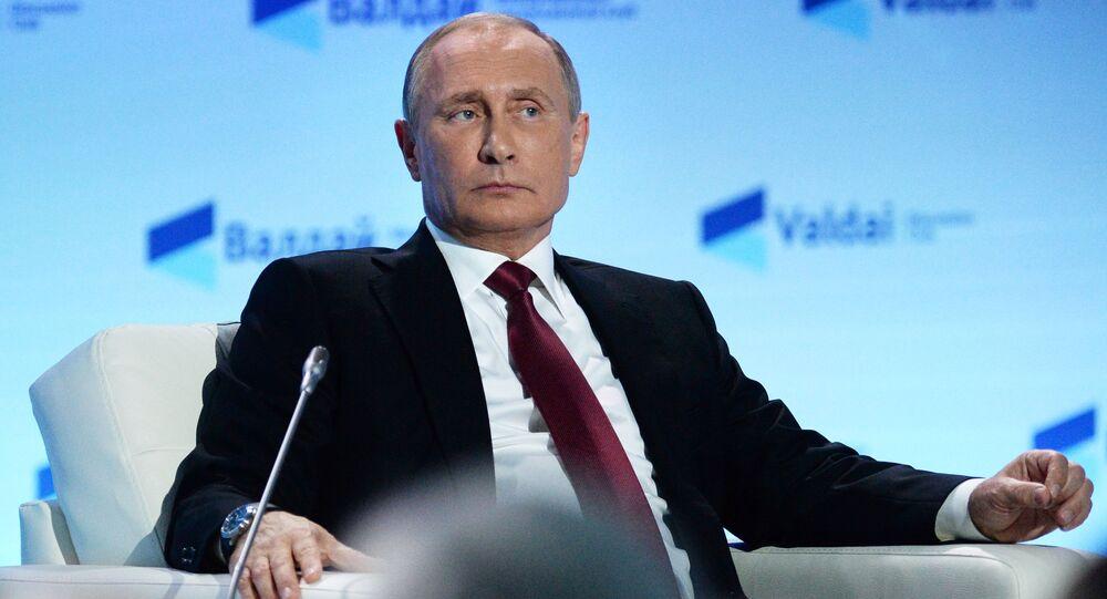 Vladimir Putin během zasedání klubu Valdaj