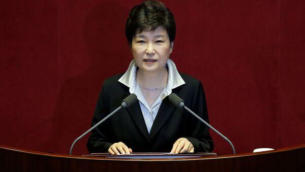 Prezidentka Jižní Koreji Pak Kun-hje během vystoupení v Soulu - Sputnik Česká republika