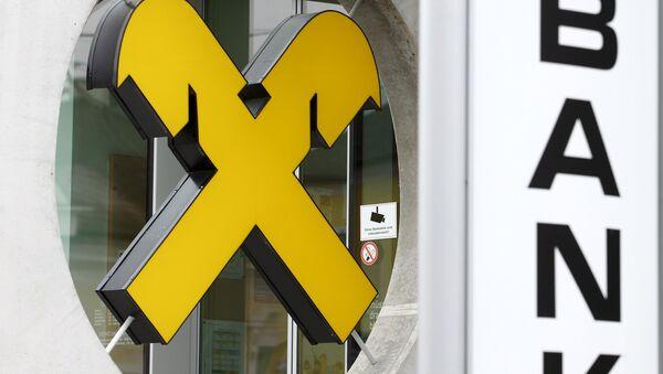 Logo Raiffeisen na kanceláři v Bockfliess v Rakousku - Sputnik Česká republika