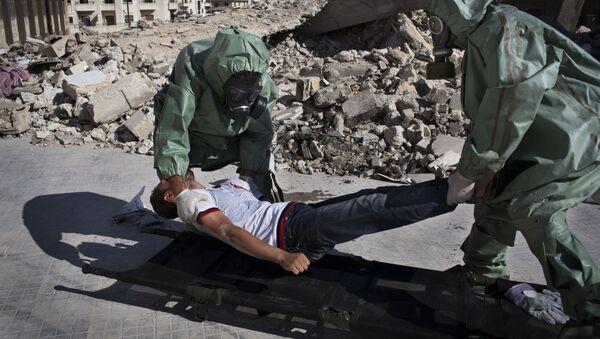 Trénink reakce na útok chemickými zbraněmi, severní Aleppo. - Sputnik Česká republika