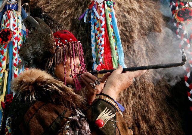 Tuvinská republika, šaman, ilustrační foto