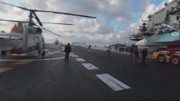 Objevilo se panoramatické video startů Su-33 z letadlové lodě Admirál Kuzněcov.VIDEO 360 - Sputnik Česká republika