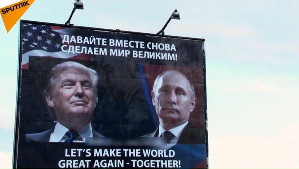 V Černé Hoře se objevil reklamní poutač se zobrazením Putina a Trumpa - Sputnik Česká republika