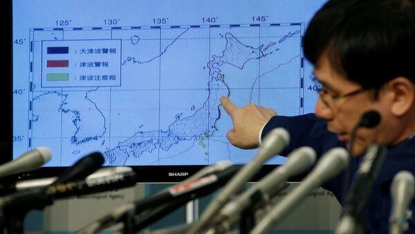 Карта с указанием места землетрясения в Японии - Sputnik Česká republika