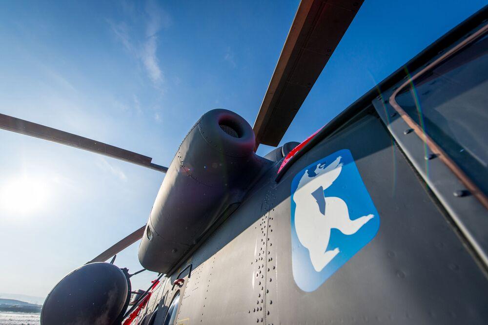 Letecká cvičení arktického vrtulníku Mi-8AMTSh-VA v letecké továrně v Ulan-Ude