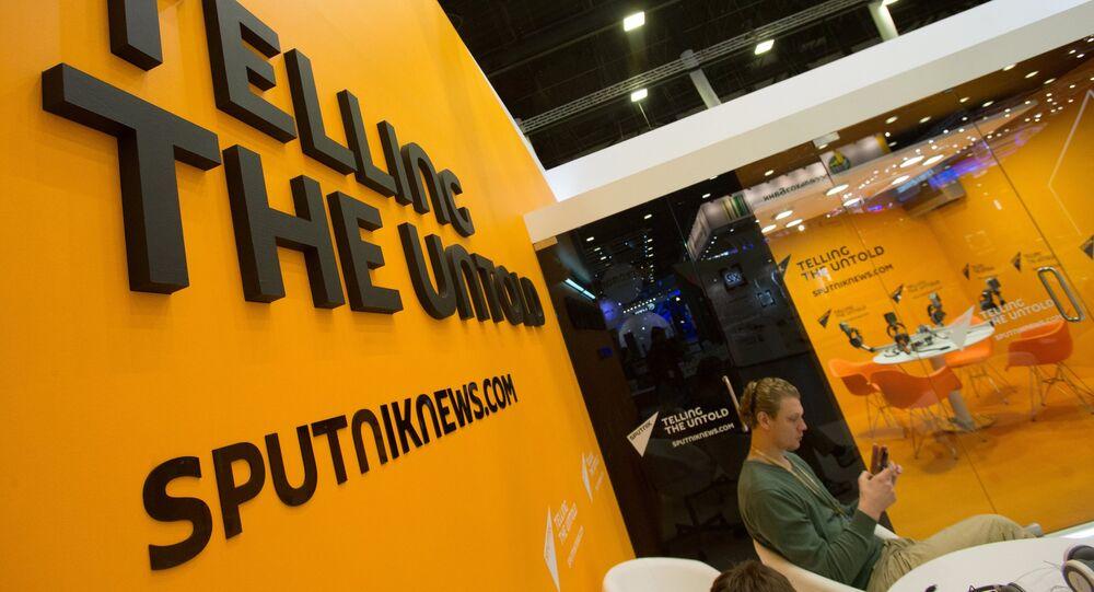 Stánek Sputniku na XX. Mezinárodním ekonomickém fóru v Petrohradu