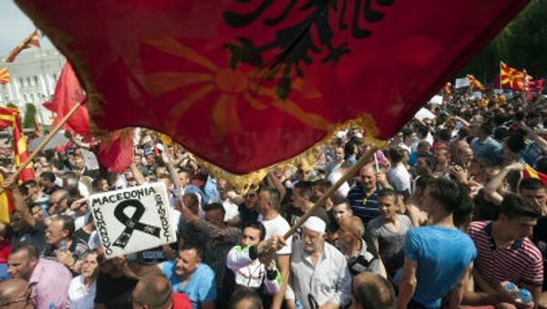 Protestní akce v Makedonii - Sputnik Česká republika