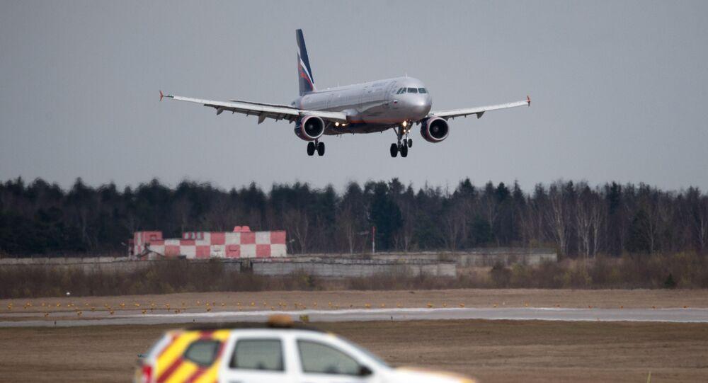 Airbus A320 na letišti Šeremeťjevo