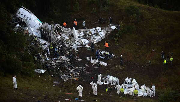 Místo havárie letadla s fotbalisty z klubu Chapecoense - Sputnik Česká republika