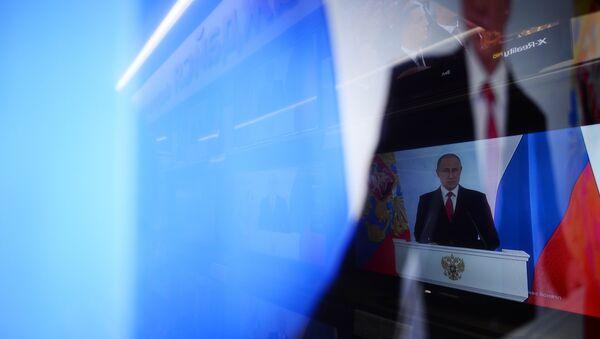 Ruský prezident Vladimir Putin během vystoupení - Sputnik Česká republika