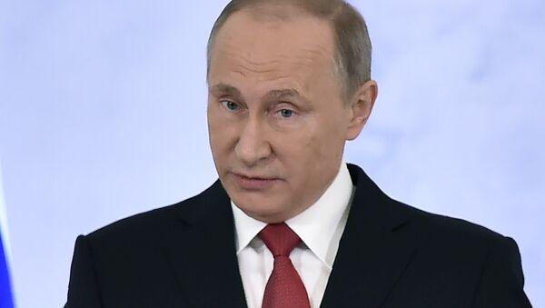 Ruský prezident Vladimir Puitn během poselství Federálnímu shromáždění - Sputnik Česká republika