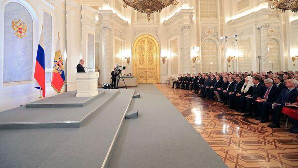 Vladimír Putin v projevu k Federálnímu shromáždění. - Sputnik Česká republika